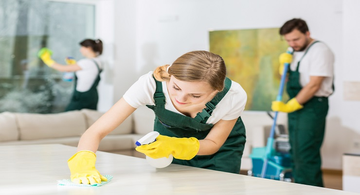female and male cleaning